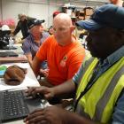 Nasa balloon flight technicians Alec Beange and Randall Henderson check Nasa co-ordinates for a...