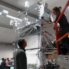 Colorado School of Mines deputy principal investigator Prof Lawrence Wiencke checks the gondola...