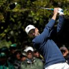 Sergio Garcia tees off on the seventh hole in second round play. Photo Reuters