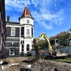 A contractor prepares the foundations for the new Cobb & Co restaurant's deck area at the Dunedin...