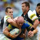 Beau Scott of the Eels is tackled during the round eight match. Photo: Getty