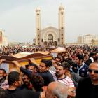 Relatives mourn the victims of the Palm Sunday bombings during the funeral at the Monastery of Saint Mina in Alexandria. Photo: Reuters