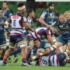 The Brumbies take on the Rebels in a Super Rugby clash earlier this year. Photo Getty