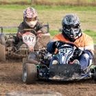 Dunedin's Jeremy Jowett leads Ashburton's Ben McLaren in a super kart class race during the New Zealand Grass Kart Championships near Milton during the Easter break. Photo supplied.