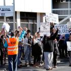 About 120 support workers and administration staff from IDEA Services in Northland went on an hour-long strike after a lack of progress over a new collective agreement. PHOTO/JOHN STONE
