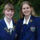 Wakatipu High School pupils Leah Kissick (16), left, and Olivia Ray (17), who will make speeches...