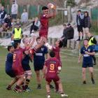 Soaring high ... Alhambra-Union loose forward Ben Tuiomanufili grabs a lineout take during his...