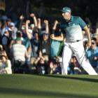 Sergio Garcia celebrates sinking a putt during his Masters win today. Photo: Reuters