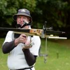 Steven Brewer with his crossbow at the Dunedin Archery Club at Chingford Park yesterday. Photo by...
