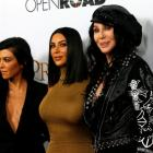 """Cher poses with television personalities Kim Kardashian and Kourtney Kardashian at the premiere of """"The Promise"""". Photo: Reuters"""
