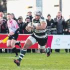 Former North Otago hooker TJ Harris on the charge for Nottingham.