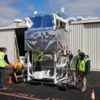 The Extreme Universe Space Observatory payload which will be attached to Nasa's super pressure balloon is wheeled out of its hanger at Wanaka Airport in preparation for a thwarted launch last week. Nasa does not expect to be able to attempt another launch