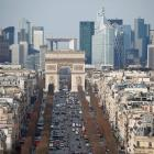 Central Paris, looking down the Champs Elysees Avenue, towards the Arc de Triomphe and to La...