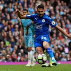 Leicester City's Riyad Mahrez scored from the penalty spot but it was disallowed because he...