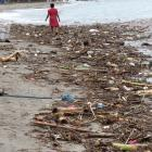 Plastic litters a beach in Bali. Photos: Gina Dempster.