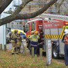 Firefighters at the site of a workplace incident in Union St East yesterday. Photo: Gerard O'Brien.