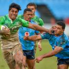 Malakai Fekitoa fends off Jade Stighling on his way to scoring the match-winning try for the...