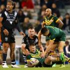 Josh Dugan of Australia fractured his check bone in this tackle during the ANZAC Test match...