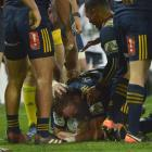 Highlanders hooker Liam Coltman scores his first try for the Highlanders at Forsyth Barr Stadium...