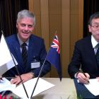 University of Otago deputy vice-chancellor, research and enterprise Prof Richard Blaikie signs a...