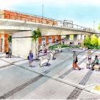 An artist's impressions of the Dunedin City Council's design for a pedestrian area in Jetty St....