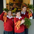 Kaikorai Valley College pupils (from left) Emma Hedges (13), Nikkita Bedford (12) and Madison...