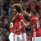 Marouane Fellaini celebrates Manchester United's goal. Photo: Getty Images