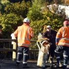 Dunedin resident Bruce Walker and contractors appraise a damaged pole which crashed on to Mr...