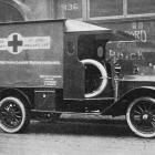 One of the two ambulances presented to the British Red Crosss Society by the United Victoria...