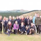 Year 13 pupils from Waitaki Girls' and Waitaki Boys' High Schools, with teacher Jen Howden (rear...