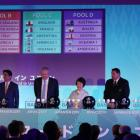 Officials on stage at the Rugby World Cup draw. Photo: Reuters