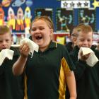(from left) Isabella Coombes (6), Brooke Agnew (6, partially obscured), Heath Pickering (7),...