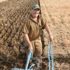 Tom Fowler, of Mosgiel, uses a 262 plough, manufactured by his great-uncle about 160 years ago, at the Otago-Southland regional ploughing competition in Mosgiel yesterday. Photo: Gregor Richardson.