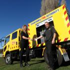 Otago Rural Fire Authority  deputy principal fire office Pete Scarlet hands  the keys for the...