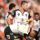 Kieran Foran of the Warriors after the Panthers scored a try. Photo: Getty