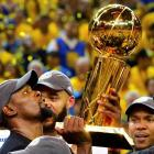 Warriors forward Kevin Durant (35) celebrates with the trophy after their win over the Cavaliers...