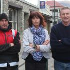 Challenge Dunstan Motors owner Jason Lines (left), Dunstan Hotel manager Robyn Gallagher and Vincent Community Board member Russell Garbutt are annoyed at the timing of Aurora's plans for a controlled power outage in Clyde on July 1. Photos: Jono Edwards