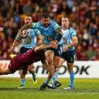 Andrew Fifita runs the ball for New South Wales. Photo: Getty Images