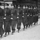 The new policewomen of Birkenhead, U. K. heading out on patrol and point duty. Their duties...