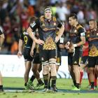 Brodie Retallick (middle) after a Chiefs loss earlier this year. Photo: Getty Images
