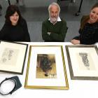 Dunedin Public Art Gallery assistant curator Lauren Gutsell (left), retired academic Roger...