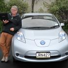 One of the two men behind an electric vehicle data collection system, emeritus Prof Henrik Moller...
