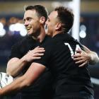 Israel Dagg (R) celebrates with All Black captain Ben Smith  after scoring a try against Samoa....