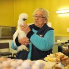 Isobel Robinson holds a white silkie hen as she prepares to feed a flock of peckish bird lovers...