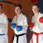 Heading off to the Karate World Youth Cup are (from left) Riley Hall, Cameron Russell  and Keegan...