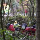 Firefighters inspect a car that rolled off a bank bordering Maori Rd, Dunedin, yesterday morning. Photo: Gregor Richardson