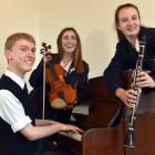 Aurora Verde trio members (from left) Cameron Monteath (16), Rose Stevenson (15) and Sara de Vries (15) rehearse for the upcoming NZCT Chamber Music Contest southern regional final in Christchurch. Photo: Peter McIntosh