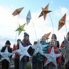 Emma Carki (8), left, Chelsea Anderson (8), Sophie Rohrbach (10), Zoe Denize (9), Melissa Carki (9), Sophie Brown (9) Ash McFarlane (13). Fergus McMullan (12) and Ranui Te Maiharoa (7). Photo: Hamish MacLean