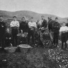 Boys from the special school at Otekaike, North Otago, gathering a crop of potatoes - one of the branches of farm work in which some of them are engaged. - Otago Witness, 13.6.1917.