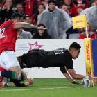 Rieko Ioane of the All Blacks scores a try. Photo: Reuters